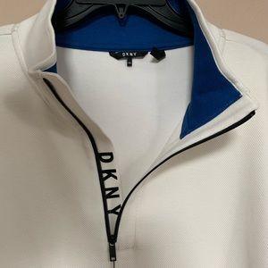 DKNY Men's Logo Quarter-Zip Pullover Marshmallow